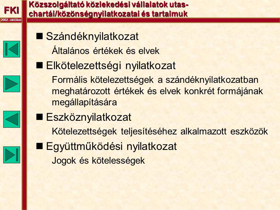 FKI 2002. október Közszolgáltató közlekedési vállalatok utas- chartái/közönségnyilatkozatai és tartalmuk  Szándéknyilatkozat Általános értékek és elv