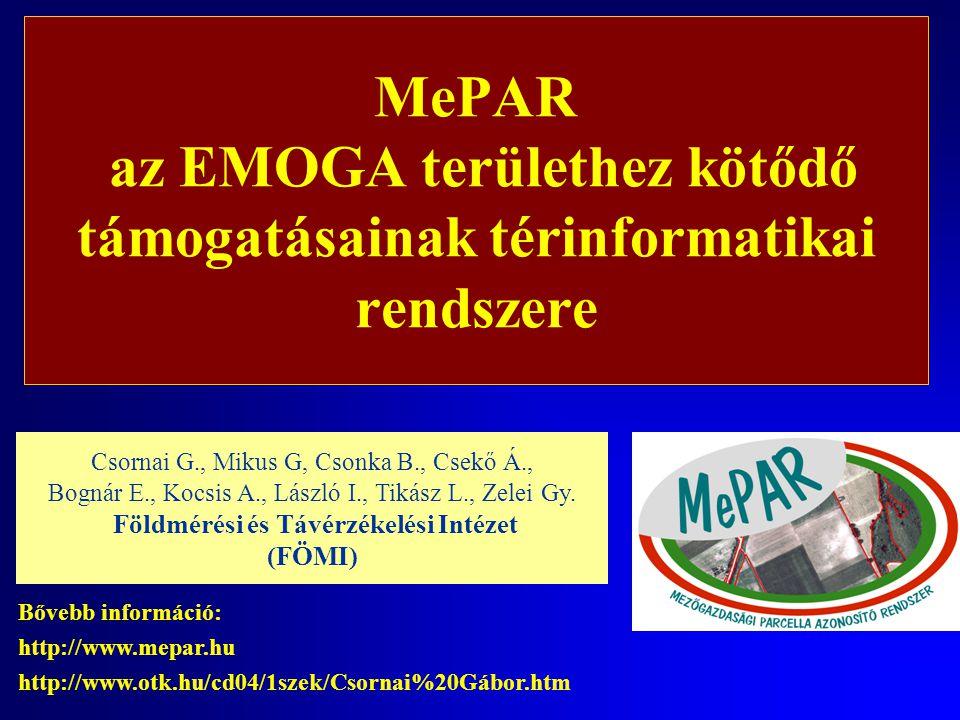 MePAR az EMOGA területhez kötődő támogatásainak térinformatikai rendszere Csornai G., Mikus G, Csonka B., Csekő Á., Bognár E., Kocsis A., László I., T