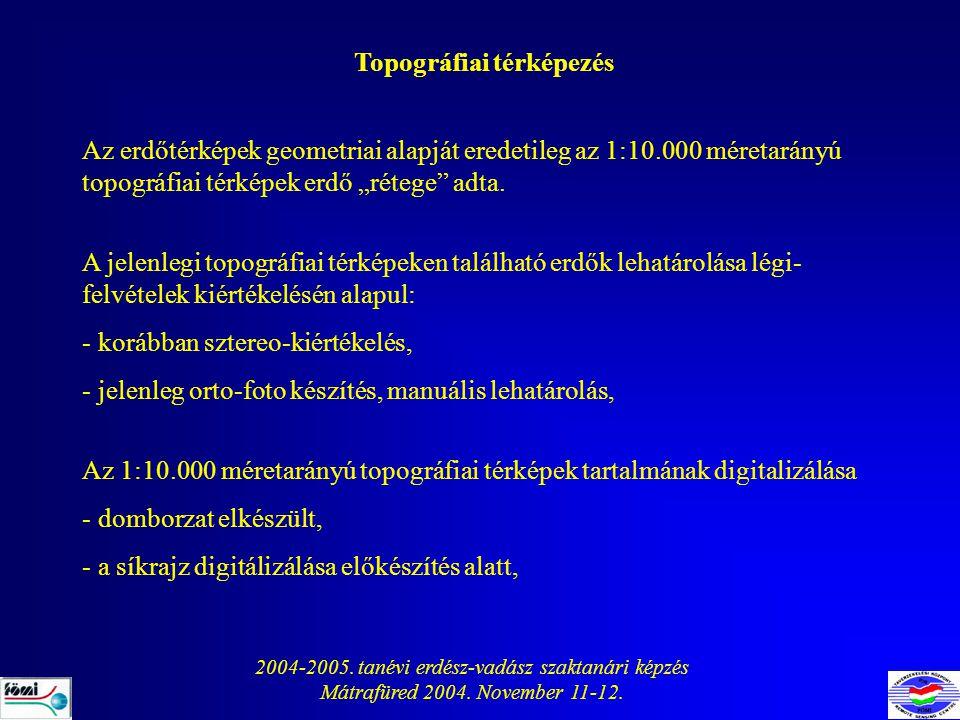 2004-2005. tanévi erdész-vadász szaktanári képzés Mátrafüred 2004. November 11-12. Topográfiai térképezés Az erdőtérképek geometriai alapját eredetile