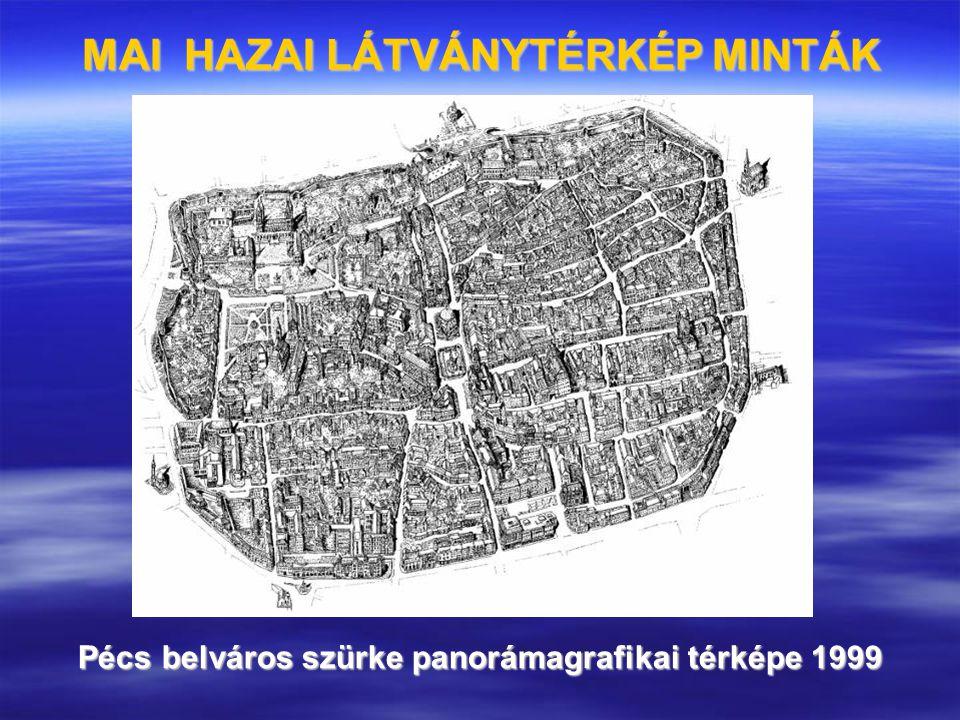 Pécs belváros szürke panorámagrafikai térképe 1999