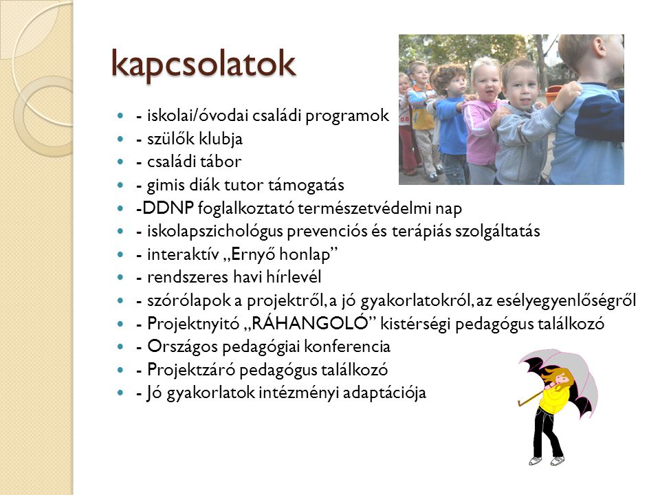 """kapcsolatok  - iskolai/óvodai családi programok  - szülők klubja  - családi tábor  - gimis diák tutor támogatás  -DDNP foglalkoztató természetvédelmi nap  - iskolapszichológus prevenciós és terápiás szolgáltatás  - interaktív """"Ernyő honlap  - rendszeres havi hírlevél  - szórólapok a projektről, a jó gyakorlatokról, az esélyegyenlőségről  - Projektnyitó """"RÁHANGOLÓ kistérségi pedagógus találkozó  - Országos pedagógiai konferencia  - Projektzáró pedagógus találkozó  - Jó gyakorlatok intézményi adaptációja"""