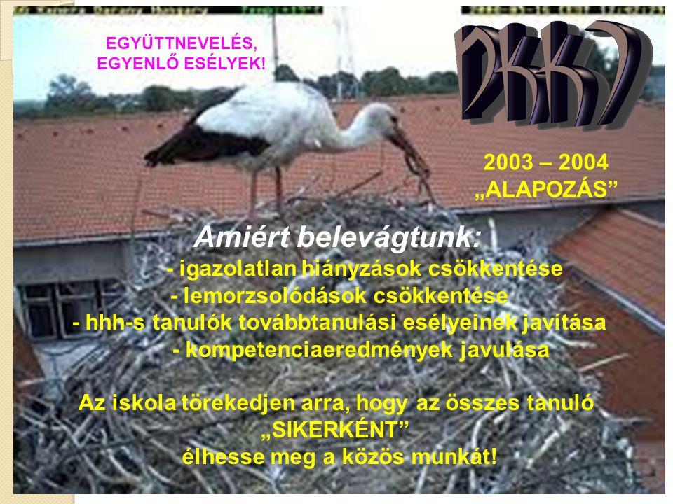"""EGYÜTTNEVELÉS, EGYENLŐ ESÉLYEK! 2003 – 2004 """"ALAPOZÁS"""" Amiért belevágtunk: - igazolatlan hiányzások csökkentése - lemorzsolódások csökkentése - hhh-s"""