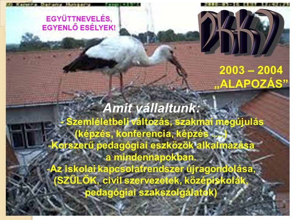 """EGYÜTTNEVELÉS, EGYENLŐ ESÉLYEK! 2003 – 2004 """"ALAPOZÁS"""" Amit vállaltunk: - Szemléletbeli változás, szakmai megújulás (képzés, konferencia, képzés ….) -"""