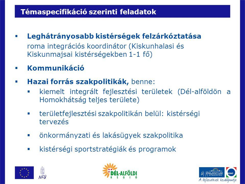 Témaspecifikáció szerinti feladatok  Leghátrányosabb kistérségek felzárkóztatása roma integrációs koordinátor (Kiskunhalasi és Kiskunmajsai kistérség