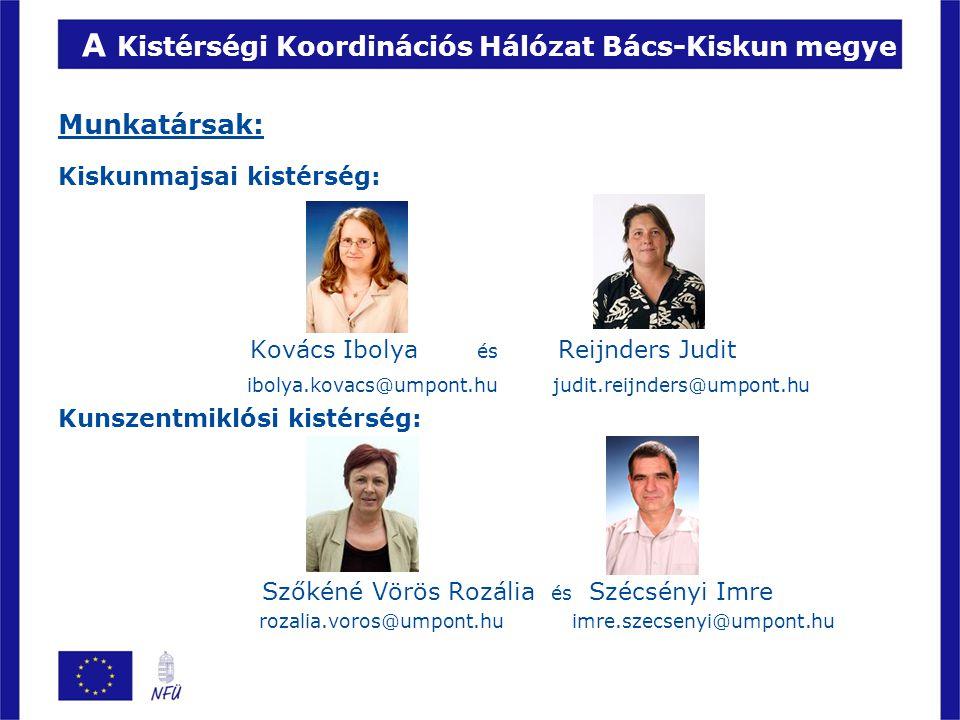 A Kistérségi Koordinációs Hálózat Bács-Kiskun megye Munkatársak: Kiskunmajsai kistérség: Kovács Ibolya és Reijnders Judit ibolya.kovacs@umpont.hu judi