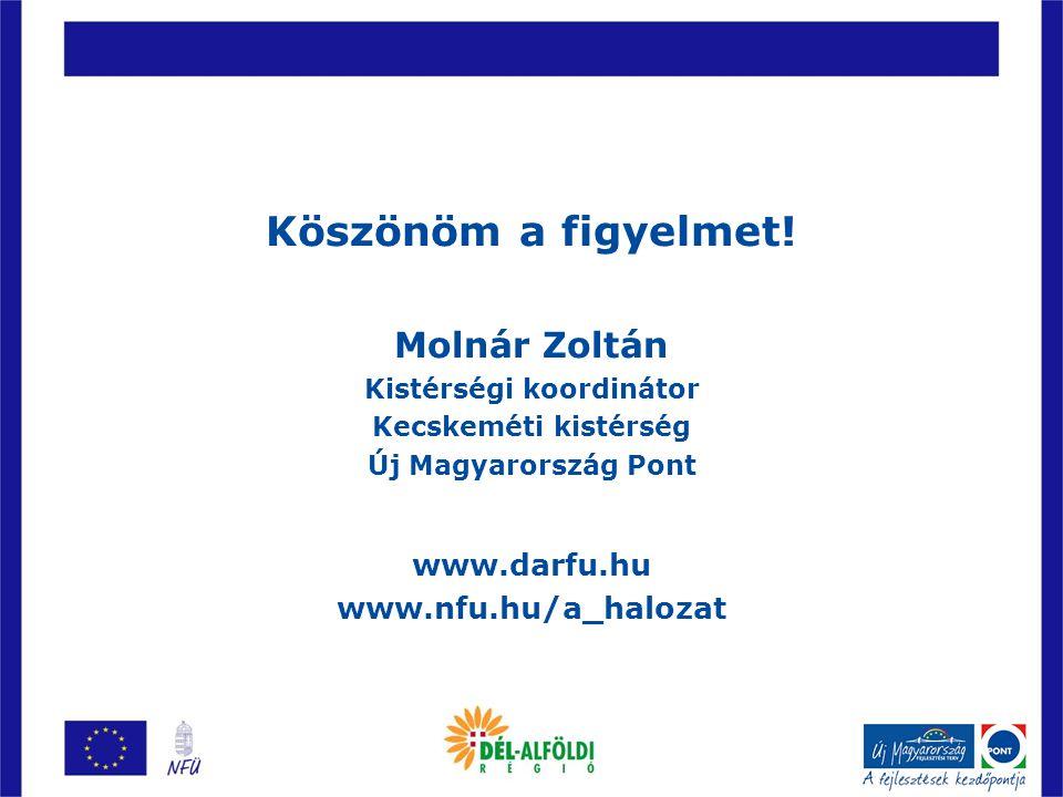 Köszönöm a figyelmet! Molnár Zoltán Kistérségi koordinátor Kecskeméti kistérség Új Magyarország Pont www.darfu.hu www.nfu.hu/a_halozat