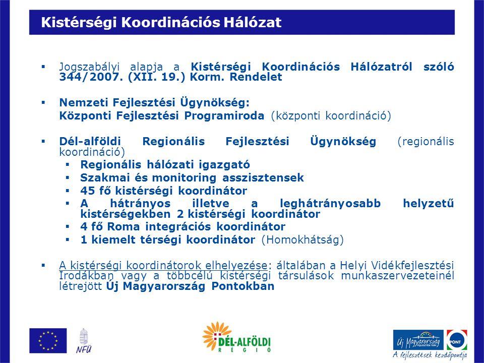 Kistérségi Koordinációs Hálózat  Jogszabályi alapja a Kistérségi Koordinációs Hálózatról szóló 344/2007. (XII. 19.) Korm. Rendelet  Nemzeti Fejleszt