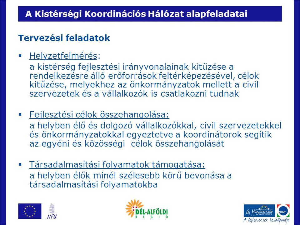 A Kistérségi Koordinációs Hálózat alapfeladatai Tervezési feladatok  Helyzetfelmérés: a kistérség fejlesztési irányvonalainak kitűzése a rendelkezésr