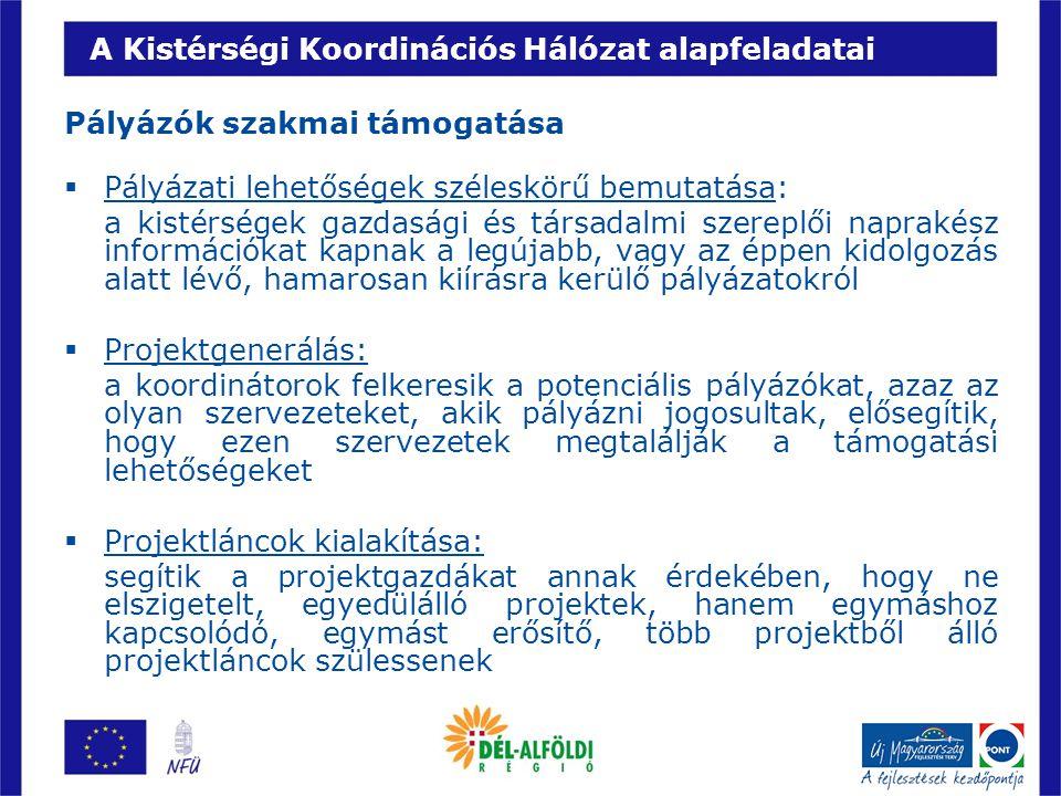 A Kistérségi Koordinációs Hálózat alapfeladatai Pályázók szakmai támogatása  Pályázati lehetőségek széleskörű bemutatása: a kistérségek gazdasági és