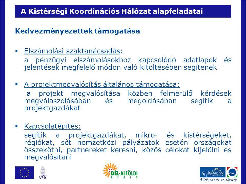 A Kistérségi Koordinációs Hálózat alapfeladatai A hazai intézményrendszer támogatása  Pályázói, kedvezményezetti észrevételek továbbítása: a kistérségi koordinátorok összegyűjtik és összegezve eljuttatják az NFÜ számára a kistérségekben élő és dolgozó vállalkozók, civil szervezetek és önkormányzatok véleményét, észrevételeit, esetleges módosító javaslatait  Az ellenőrzési folyamatok támogatása: a koordinátorok segítséget nyújtanak a kedvezményezetteknek, hogy felkészüljenek a várható vagy akár szúrópróbaszerű ellenőrzésekre, illetve néhány egyszerűbb előírás betartásának vizsgálatában az intézményrendszert is segítik