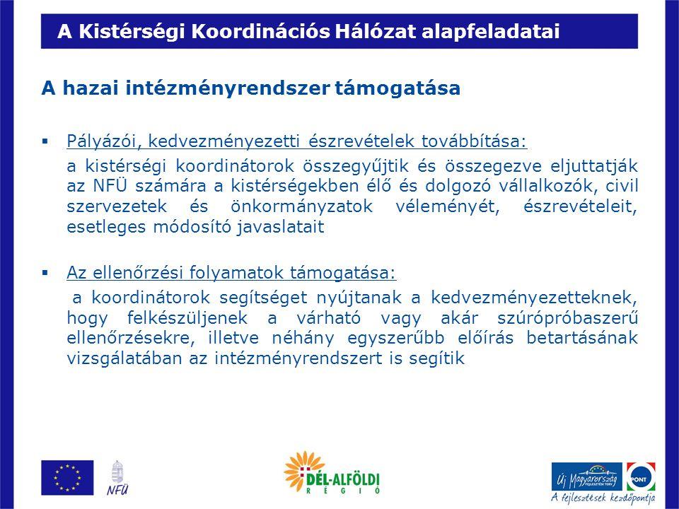 A Kistérségi Koordinációs Hálózat alapfeladatai Továbbá:  Fórumok szervezése  Kapcsolatépítés, partnerkeresés  Közösségi élet erősítése  A fejlesztések nyilvánosságának biztosítása  Ellenőrzési feladatok  Hazai forrás szakfeladatok