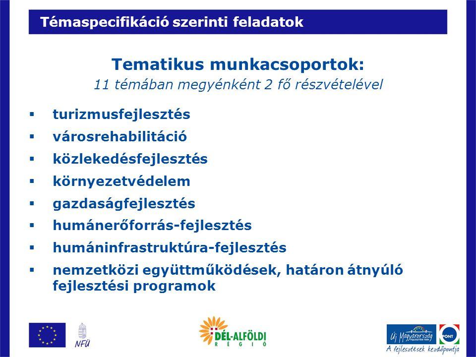 Témaspecifikáció szerinti feladatok Tematikus munkacsoportok: 11 témában megyénként 2 fő részvételével  turizmusfejlesztés  városrehabilitáció  köz