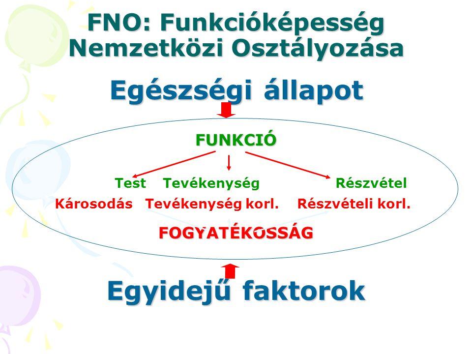 Egészségi állapot FNO: Funkcióképesség Nemzetközi Osztályozása FUNKCIÓ Test Tevékenység Részvétel Károsodás Tevékenység korl.