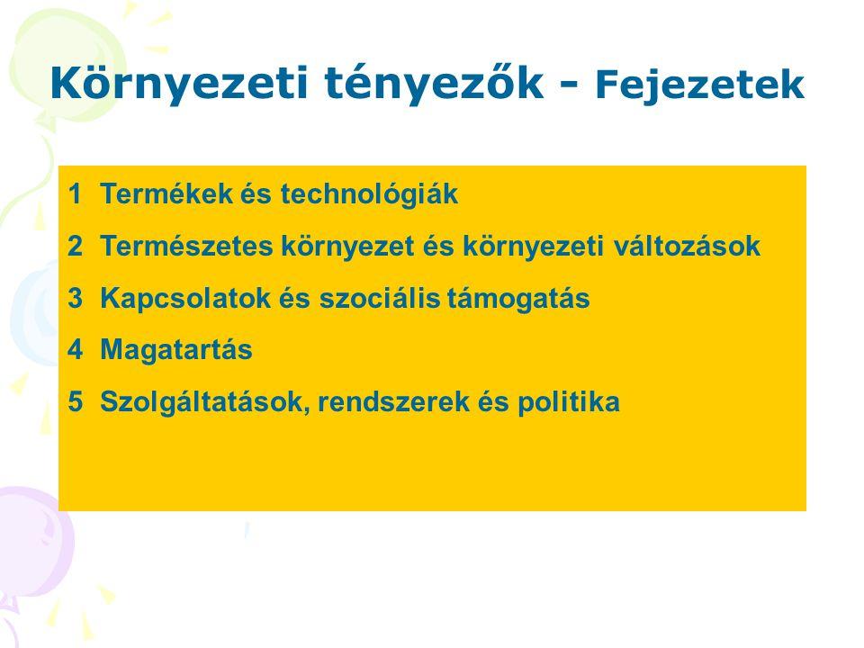 Környezeti tényezők - Fejezetek 1Termékek és technológiák 2Természetes környezet és környezeti változások 3Kapcsolatok és szociális támogatás 4Magatartás 5Szolgáltatások, rendszerek és politika