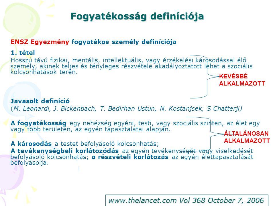Fogyatékosság definíciója ENSZ Egyezmény fogyatékos személy definíciója 1.
