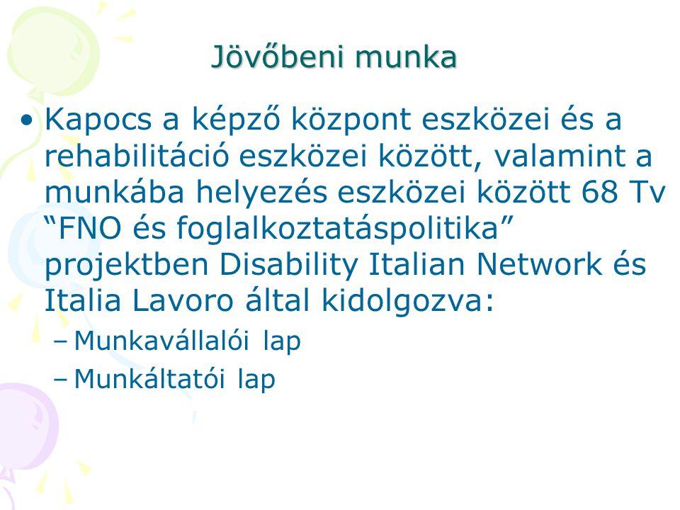 Jövőbeni munka •Kapocs a képző központ eszközei és a rehabilitáció eszközei között, valamint a munkába helyezés eszközei között 68 Tv FNO és foglalkoztatáspolitika projektben Disability Italian Network és Italia Lavoro által kidolgozva: –Munkavállalói lap –Munkáltatói lap