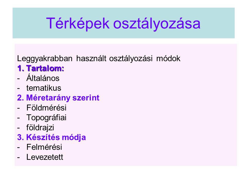 Térképek osztályozása Leggyakrabban használt osztályozási módok 1. Tartalom: -Általános -tematikus 2. Méretarány szerint -Földmérési -Topográfiai -föl