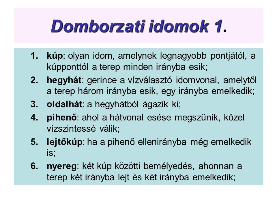 Domborzati idomok 1 Domborzati idomok 1. 1.kúp: olyan idom, amelynek legnagyobb pontjától, a kúpponttól a terep minden irányba esik; 2.hegyhát: gerinc
