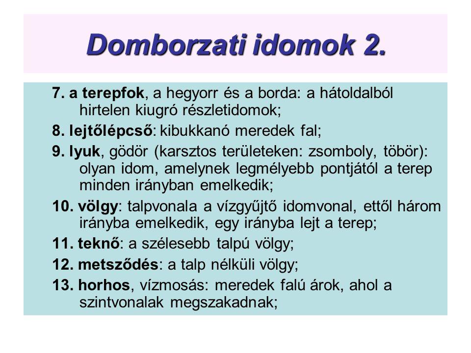 Domborzati idomok 2. 7. a terepfok, a hegyorr és a borda: a hátoldalból hirtelen kiugró részletidomok; 8. lejtőlépcső: kibukkanó meredek fal; 9. lyuk,