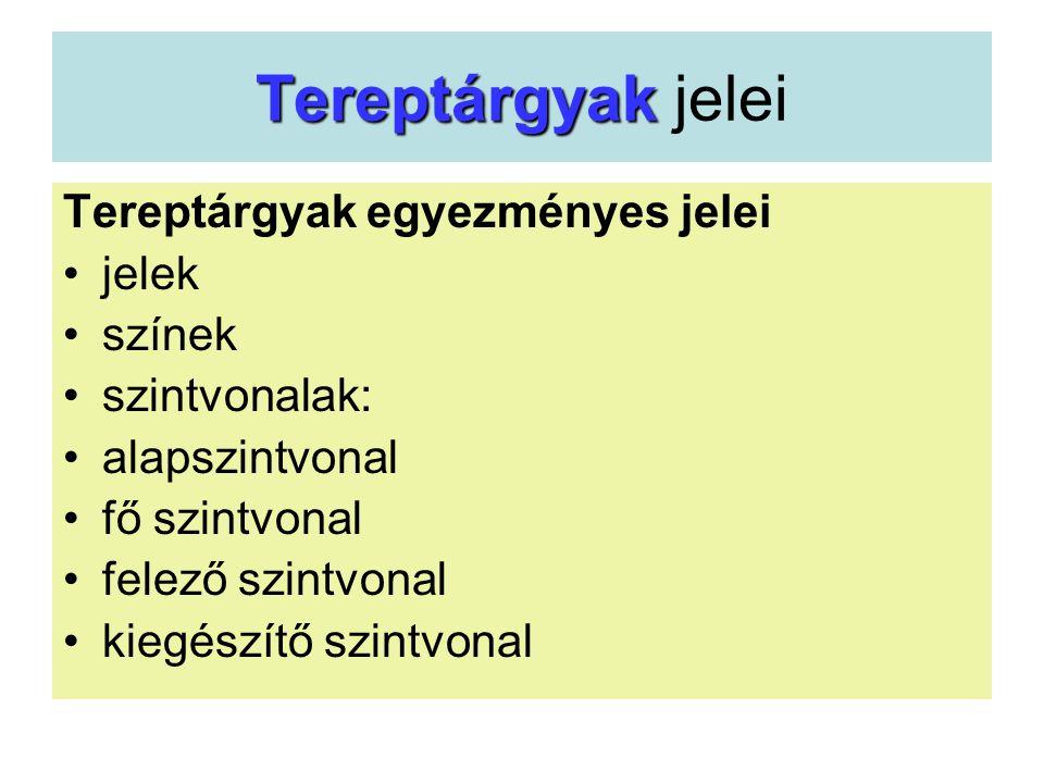Tereptárgyak Tereptárgyak jelei Tereptárgyak egyezményes jelei •jelek •színek •szintvonalak: •alapszintvonal •fő szintvonal •felező szintvonal •kiegés