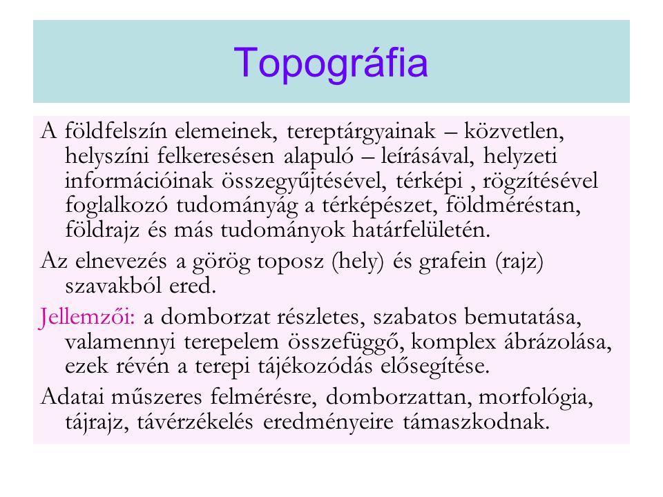 Topográfia A földfelszín elemeinek, tereptárgyainak – közvetlen, helyszíni felkeresésen alapuló – leírásával, helyzeti információinak összegyűjtésével