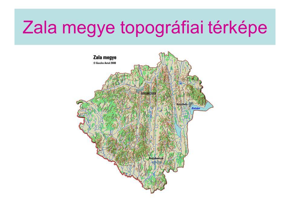 Zala megye topográfiai térképe