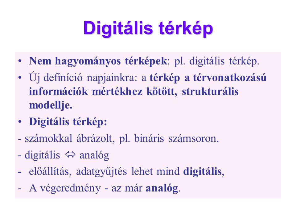 Digitális térkép •Nem hagyományos térképek: pl. digitális térkép. •Új definíció napjainkra: a térkép a térvonatkozású információk mértékhez kötött, st
