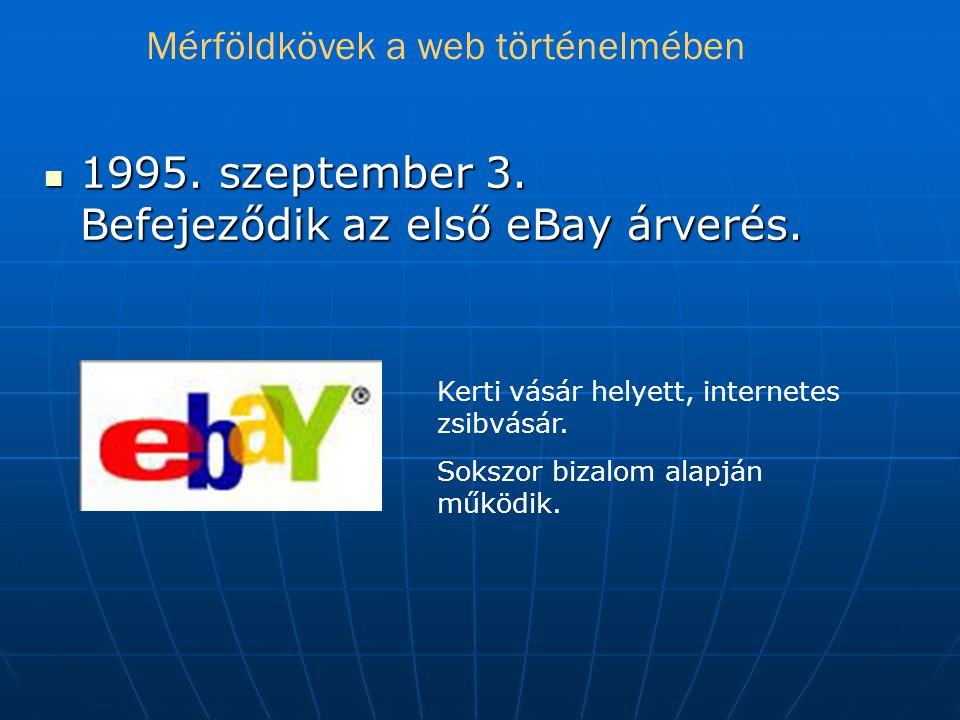  1995.szeptember 3. Befejeződik az első eBay árverés.