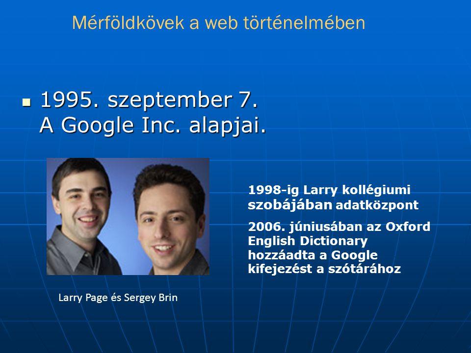  1995.szeptember 7. A Google Inc. alapjai. 1998-ig Larry kollégiumi szobájában adatközpont 2006.