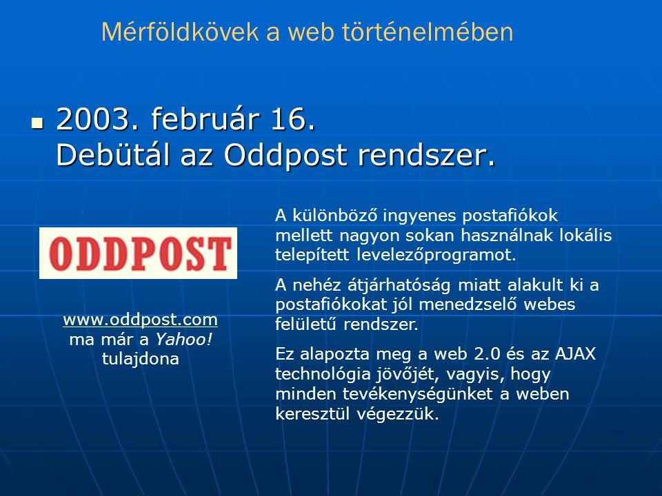  2003.február 16. Debütál az Oddpost rendszer.