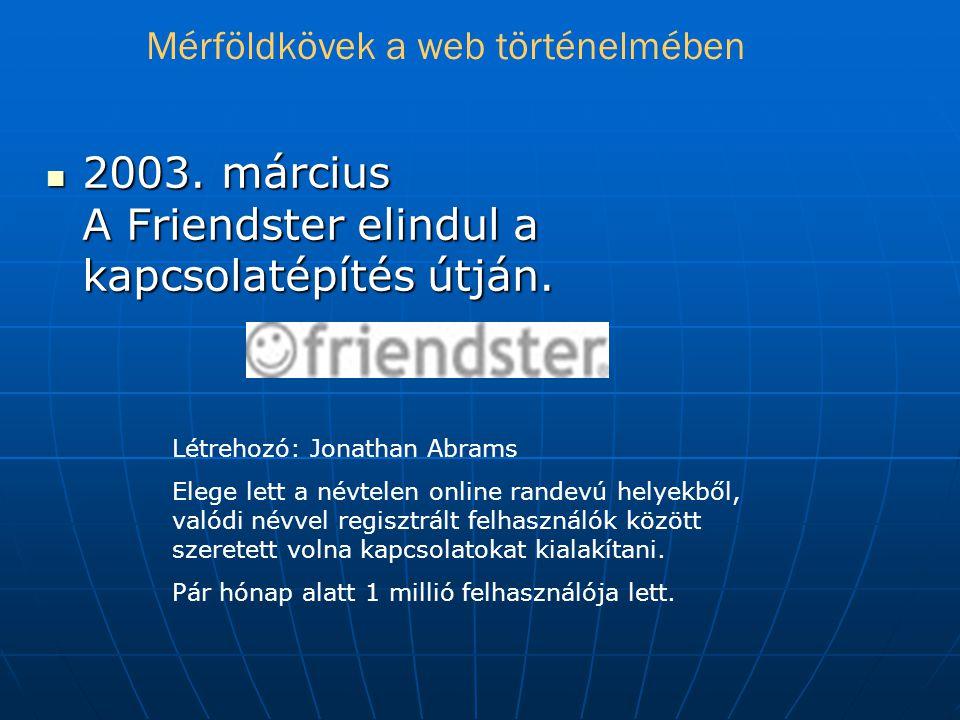  2003.március A Friendster elindul a kapcsolatépítés útján.