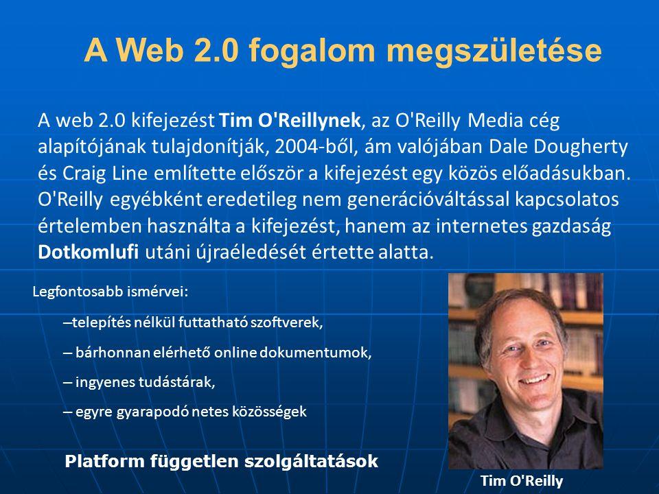 A Web 2.0 fogalom megszületése A web 2.0 kifejezést Tim O Reillynek, az O Reilly Media cég alapítójának tulajdonítják, 2004-ből, ám valójában Dale Dougherty és Craig Line említette először a kifejezést egy közös előadásukban.
