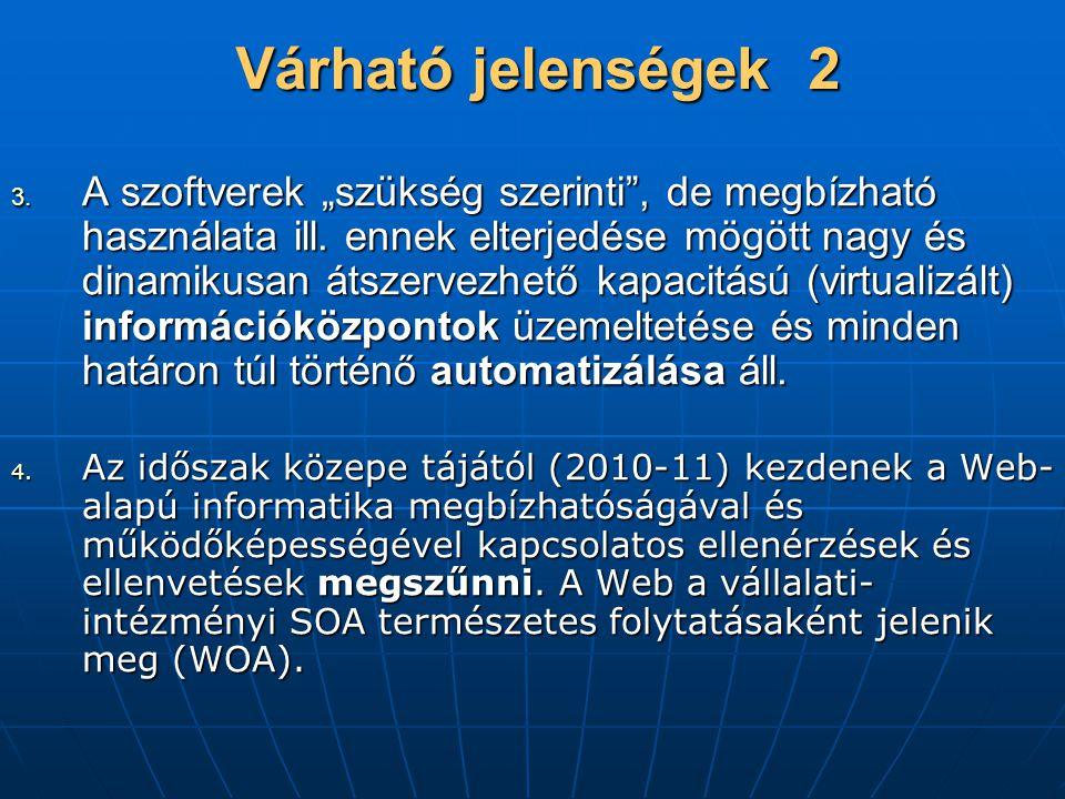 """Várható jelenségek 2 3.A szoftverek """"szükség szerinti , de megbízható használata ill."""