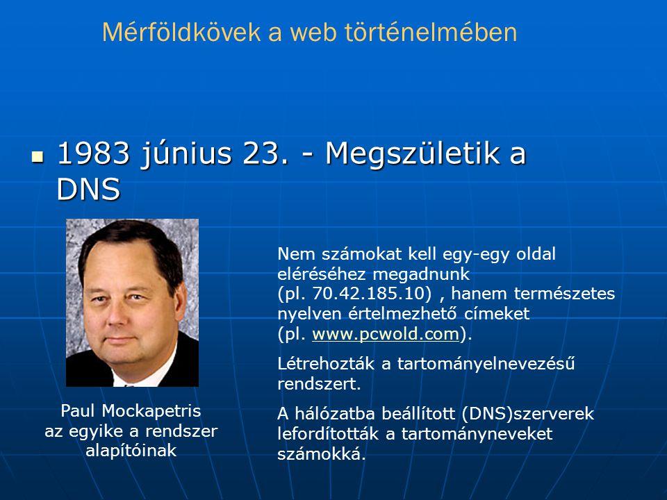 1983 június 23.- Megszületik a DNS Nem számokat kell egy-egy oldal eléréséhez megadnunk (pl.