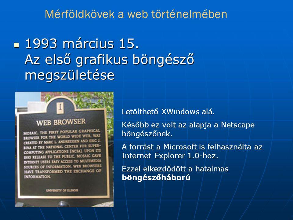  1993 március 15.Az első grafikus böngésző megszületése Letölthető XWindows alá.