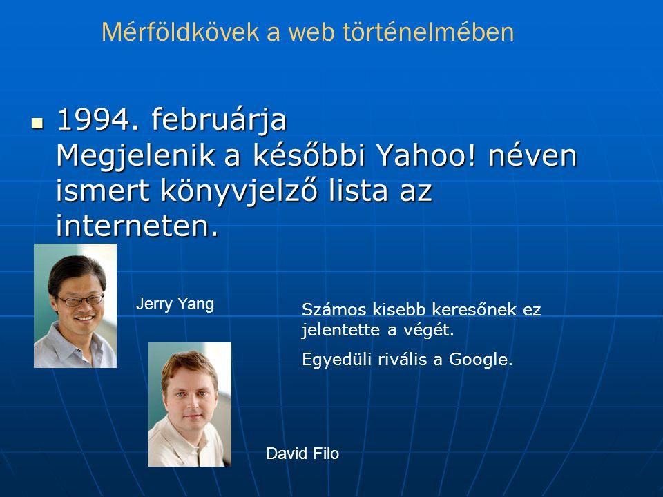  1994.februárja Megjelenik a későbbi Yahoo. néven ismert könyvjelző lista az interneten.