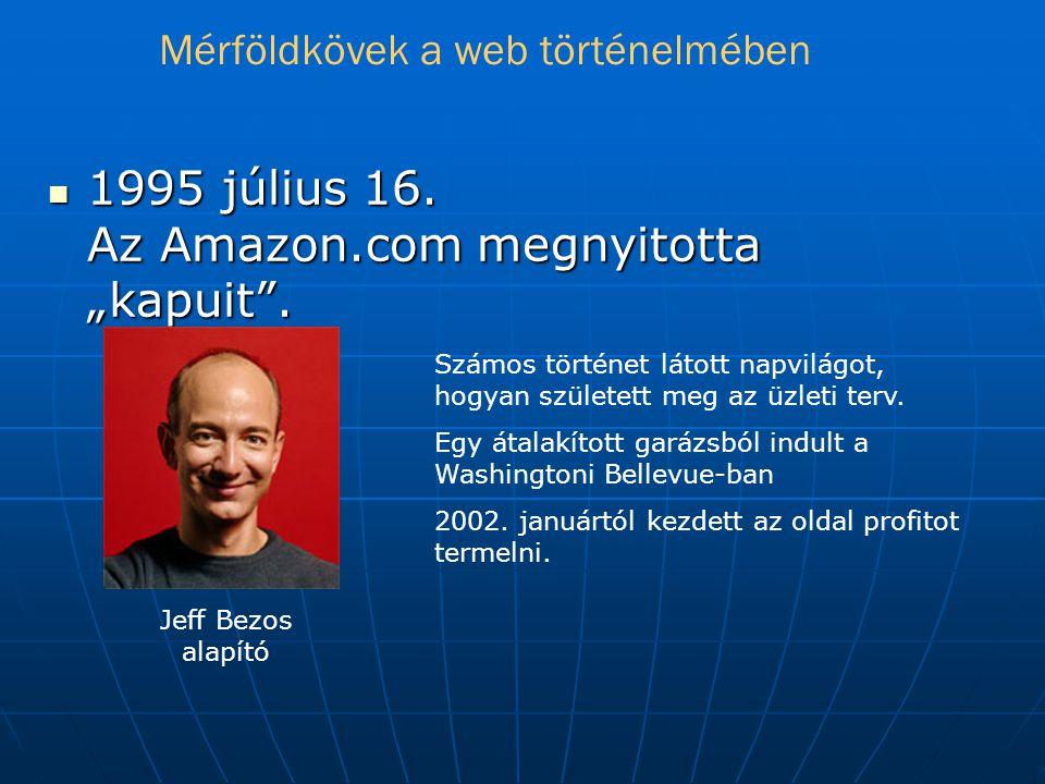 """ 1995 július 16.Az Amazon.com megnyitotta """"kapuit ."""