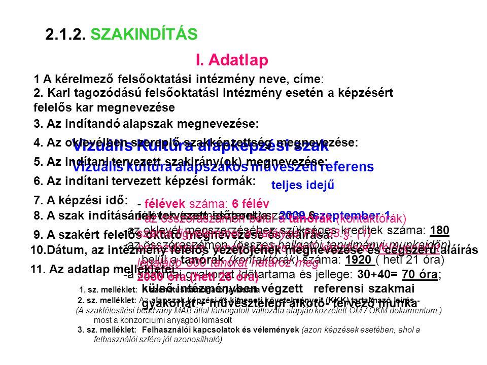 II.A szaklétesítési kérelem indoklása 2.2.1. SZAKLÉTESÍTÉS 1.