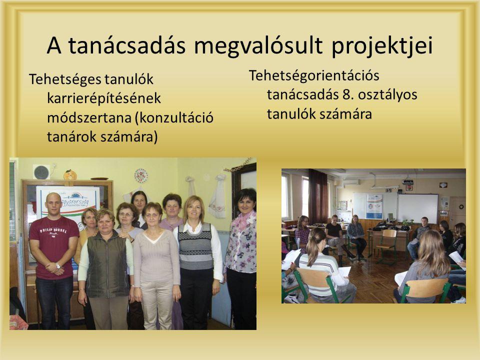 A tanácsadás megvalósult projektjei Tehetséges tanulók karrierépítésének módszertana (konzultáció tanárok számára) Tehetségorientációs tanácsadás 8.