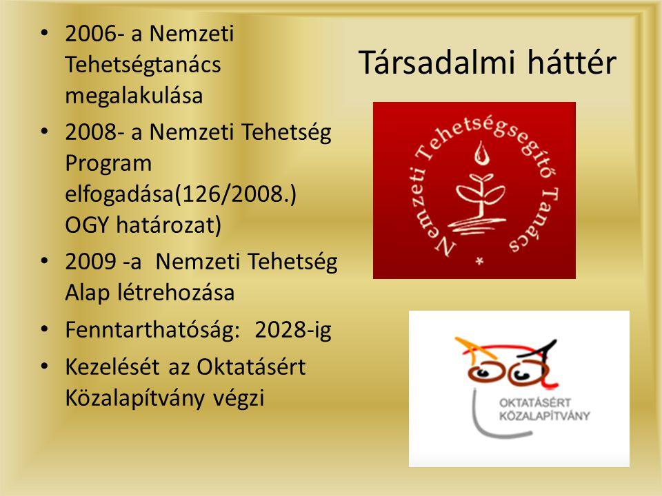 Társadalmi háttér • 2006- a Nemzeti Tehetségtanács megalakulása • 2008- a Nemzeti Tehetség Program elfogadása(126/2008.) OGY határozat) • 2009 -a Nemzeti Tehetség Alap létrehozása • Fenntarthatóság: 2028-ig • Kezelését az Oktatásért Közalapítvány végzi
