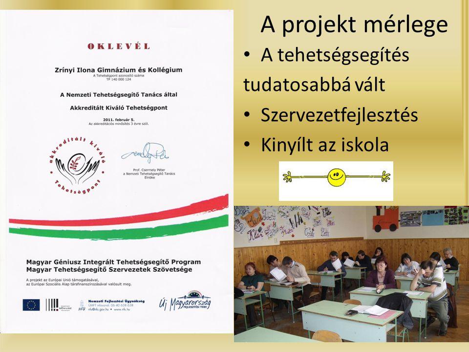 A projekt mérlege • A tehetségsegítés tudatosabbá vált • Szervezetfejlesztés • Kinyílt az iskola