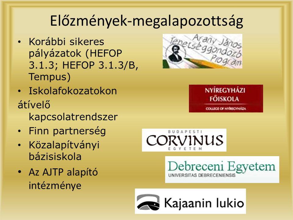 Előzmények-megalapozottság • Korábbi sikeres pályázatok (HEFOP 3.1.3; HEFOP 3.1.3/B, Tempus) • Iskolafokozatokon átívelő kapcsolatrendszer • Finn partnerség • Közalapítványi bázisiskola • Az AJTP alapító intézménye