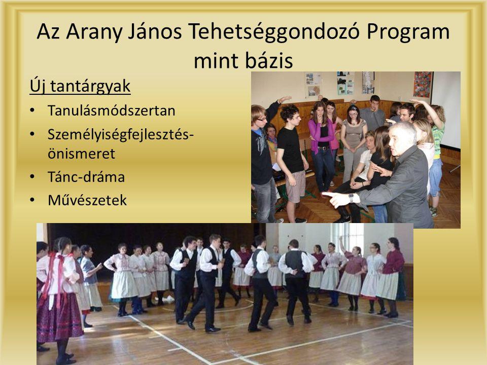 Az Arany János Tehetséggondozó Program mint bázis Új tantárgyak • Tanulásmódszertan • Személyiségfejlesztés- önismeret • Tánc-dráma • Művészetek