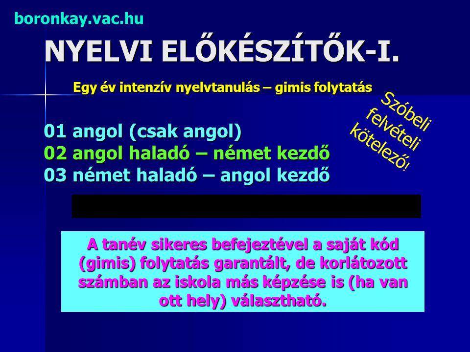 NYELVI ELŐKÉSZÍTŐK-I. boronkay.vac.hu Egy év intenzív nyelvtanulás – gimis folytatás 01 angol (csak angol) 02 angol haladó – német kezdő 03 német hala