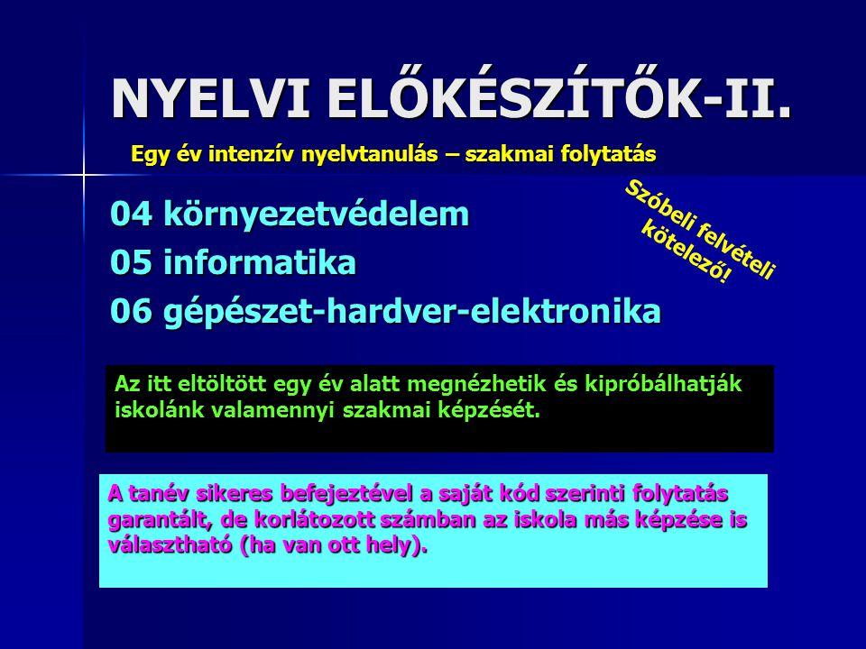 NYELVI ELŐKÉSZÍTŐK-II. 04 környezetvédelem 05 informatika 06 gépészet-hardver-elektronika Egy év intenzív nyelvtanulás – szakmai folytatás Az itt eltö