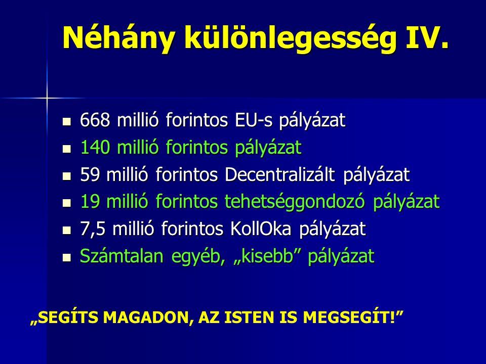 Néhány különlegesség IV.  668 millió forintos EU-s pályázat  140 millió forintos pályázat  59 millió forintos Decentralizált pályázat  19 millió f