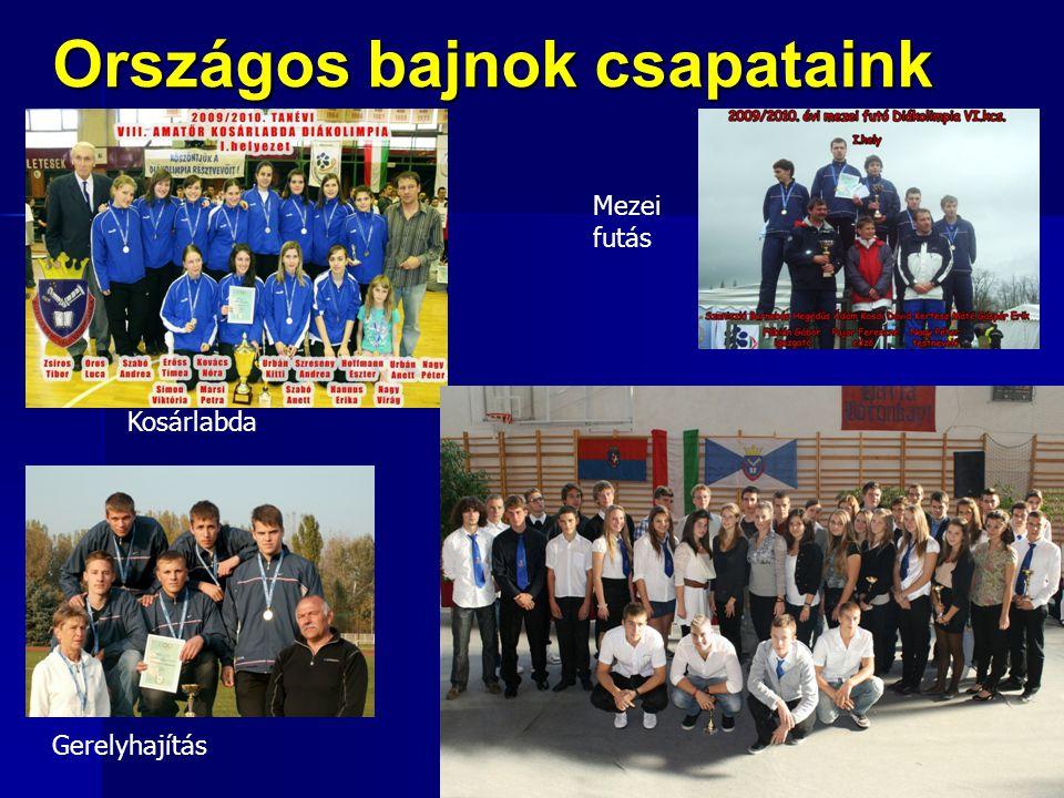 Országos bajnok csapataink Kosárlabda Mezei futás Gerelyhajítás