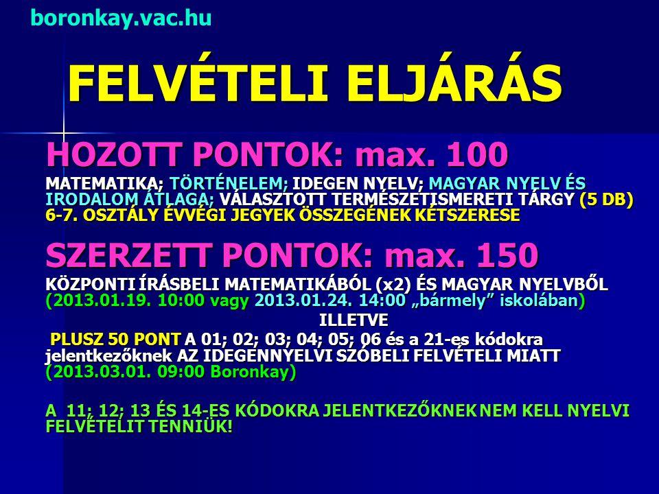 FELVÉTELI ELJÁRÁS HOZOTT PONTOK: max. 100 MATEMATIKA; TÖRTÉNELEM; IDEGEN NYELV; MAGYAR NYELV ÉS IRODALOM ÁTLAGA; VÁLASZTOTT TERMÉSZETISMERETI TÁRGY (5