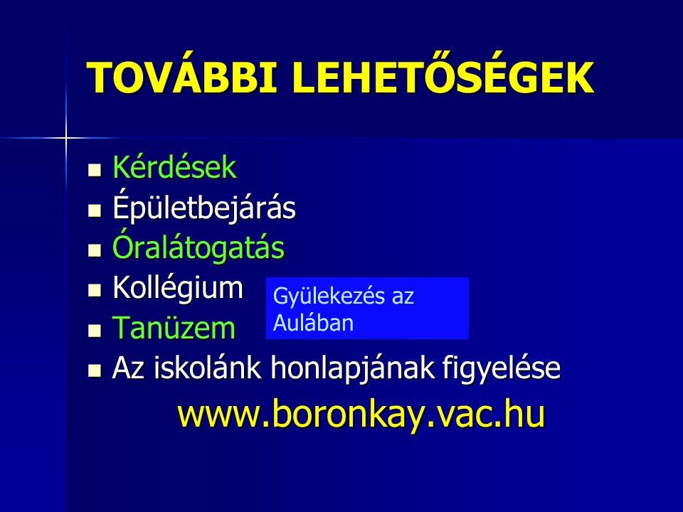 TOVÁBBI LEHETŐSÉGEK  Kérdések  Épületbejárás  Óralátogatás  Kollégium  Tanüzem  Az iskolánk honlapjának figyelése www.boronkay.vac.hu Gyülekezés
