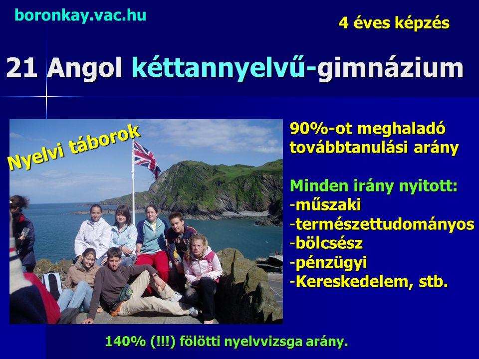 21 Angol kéttannyelvű-gimnázium boronkay.vac.hu 4 éves képzés Nyelvi táborok 140% (!!!) fölötti nyelvvizsga arány. 90%-ot meghaladó továbbtanulási ará